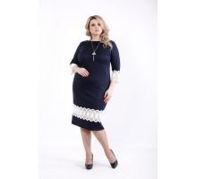 Синее платье с кружевом ККК533-01059-1