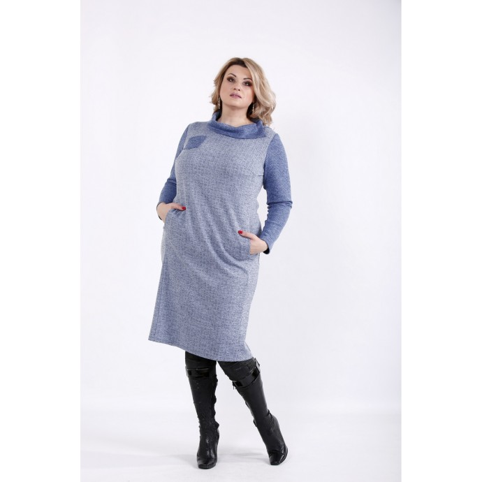 Голубое платье с длинным рукавом ККК539-01057-1