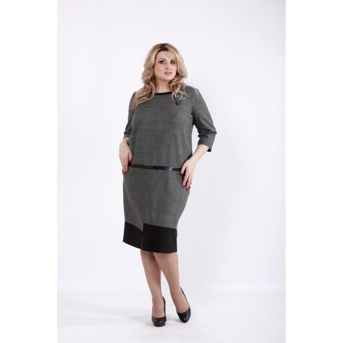 Серое платье миди из габардина ККК534-01058-3