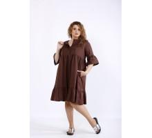 Шоколадное свободное скрывающее платье ККК44413-01206-3