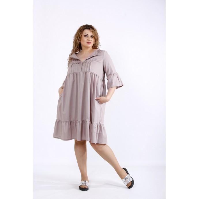 Бежевое платье до колена ККК44414-01206-2