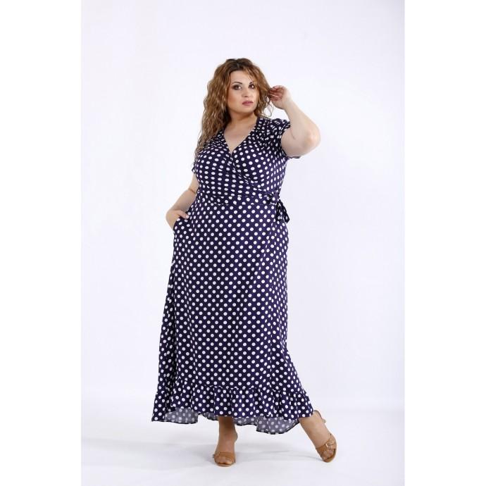 Синее платье в горох ККК44417-01205-2
