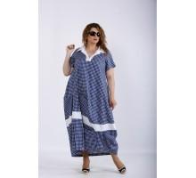 Синее платье в клетку ККК44419-01204-3