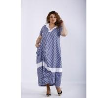 Голубое платье в клетку ККК44421-01204-1