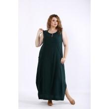 Темно-зеленый летний сарафан ККК44426-01202-2