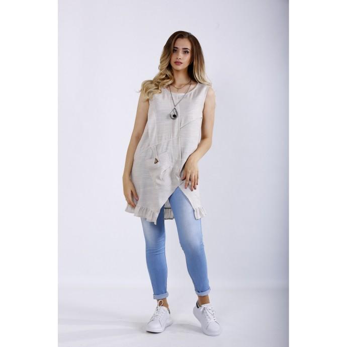 Летняя блузка-туника из льна ККК44437-01198-1