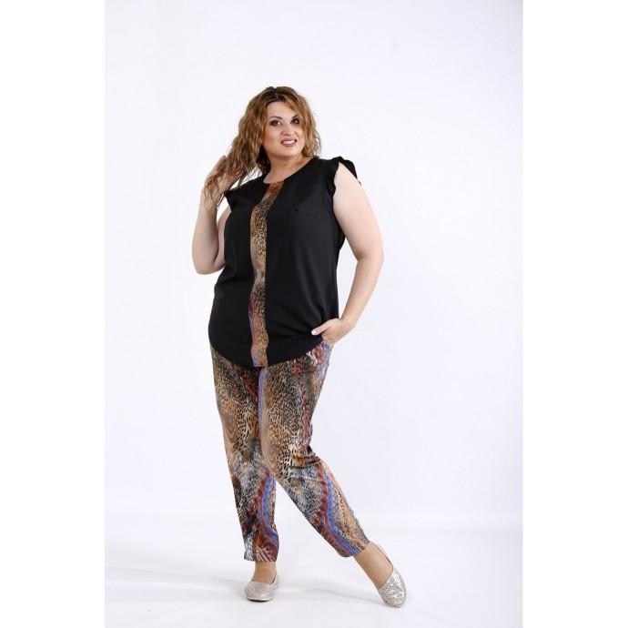 Комплект с коричневым принтом: блузка и штаны ККК44439-01197-2