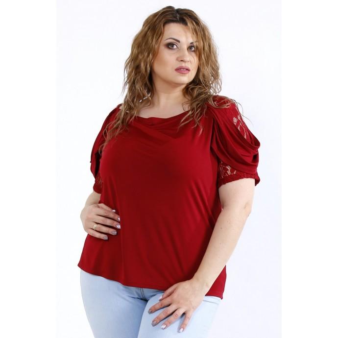 Бордовая блузка с вставками из гипюра ККК44442-01196-2