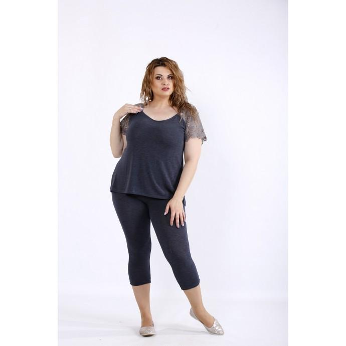 Серый удобный комплект: капри и блузка ККК44444-01195-3