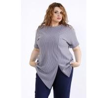 Серая свободная блузка в полоску ККК44450-01193-3