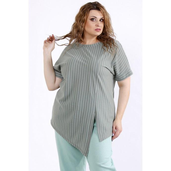 Блузка в полоску хаки лен ККК44451-01193-2