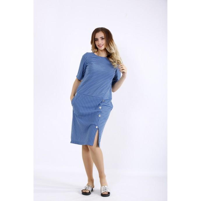 Простое синее платье в полоску ККК44458-01191-1