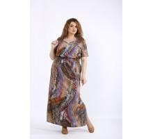 Коричневое длинное платье ККК44459-01190-3