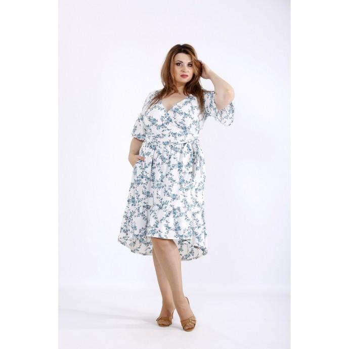 Пышное летнее платье с бирюзовыми цветами ККК55514-01223-2
