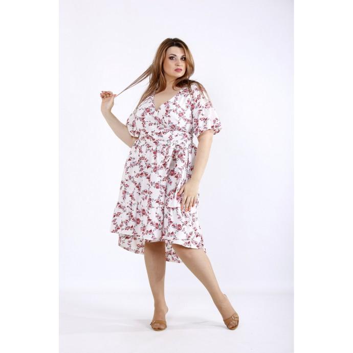 Красивое летнее платье с красными цветами ККК55515-01223-1