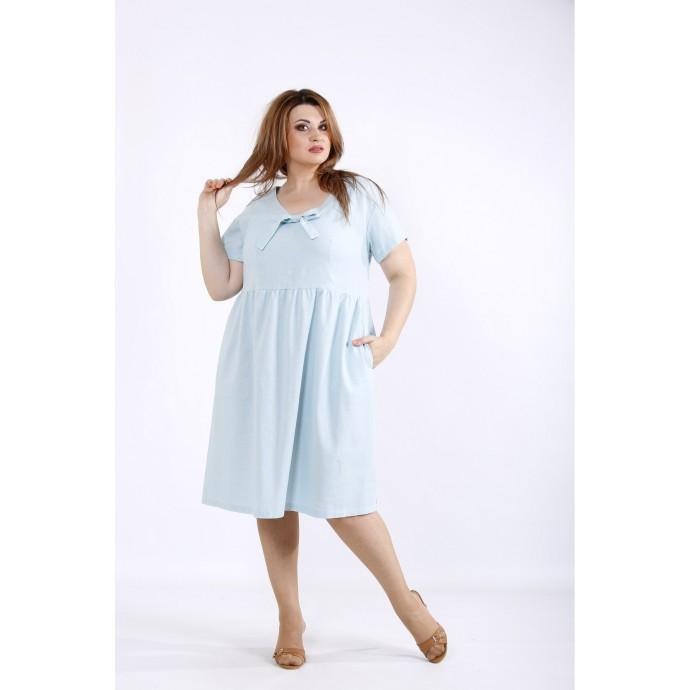 Мятное платье из льна ККК55523-01219-3