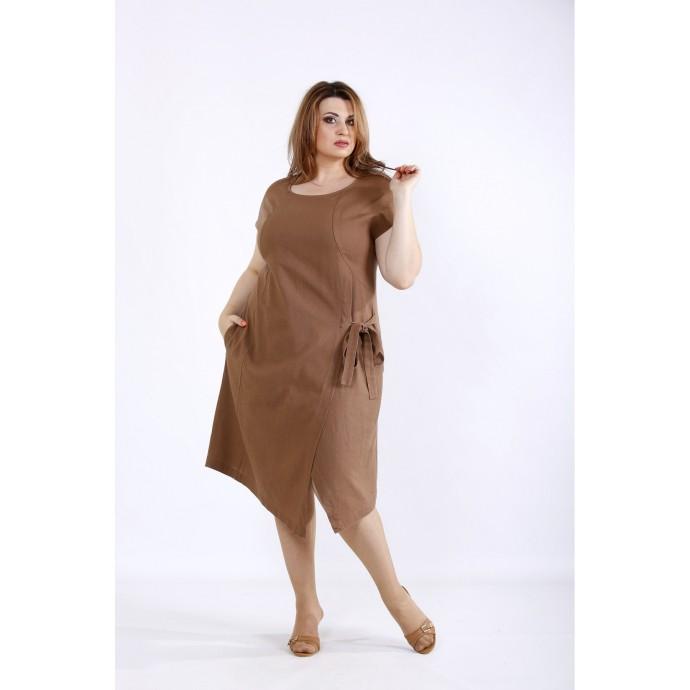 Шоколадное платье из льна ККК55526-01218-3