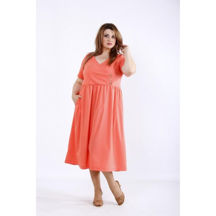 Коралловое свободное стрейчевое платье ККК55530-01217-2
