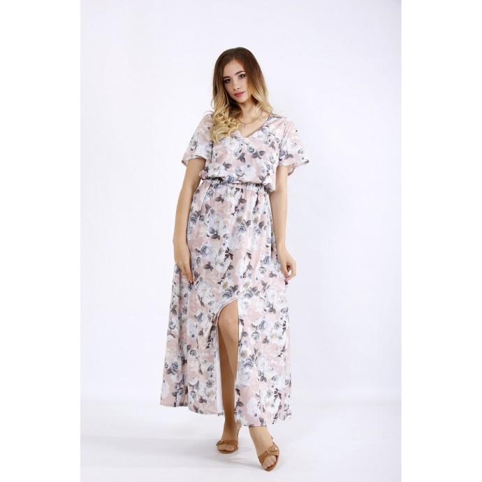 Пудровое длинное легкое платье ККК55536-01215-1