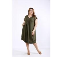 Платье хаки из льна ККК55537-01214-3