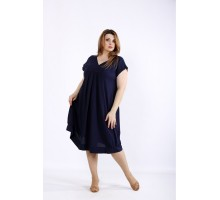 Синее платье из льна ККК55538-01214-2