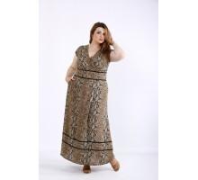 Коричневое легкое платье с принтом питон ККК55540-01213-3