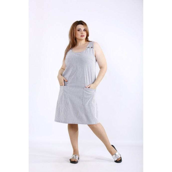 Летнее платье в черную полоску ККК55543-01212-3