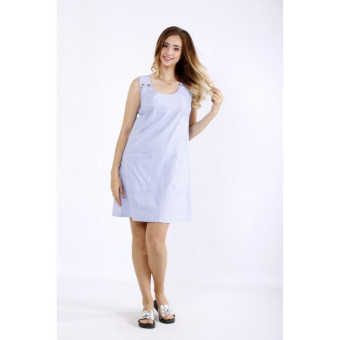 Легкое голубое платье в полоску ККК55545-01212-1