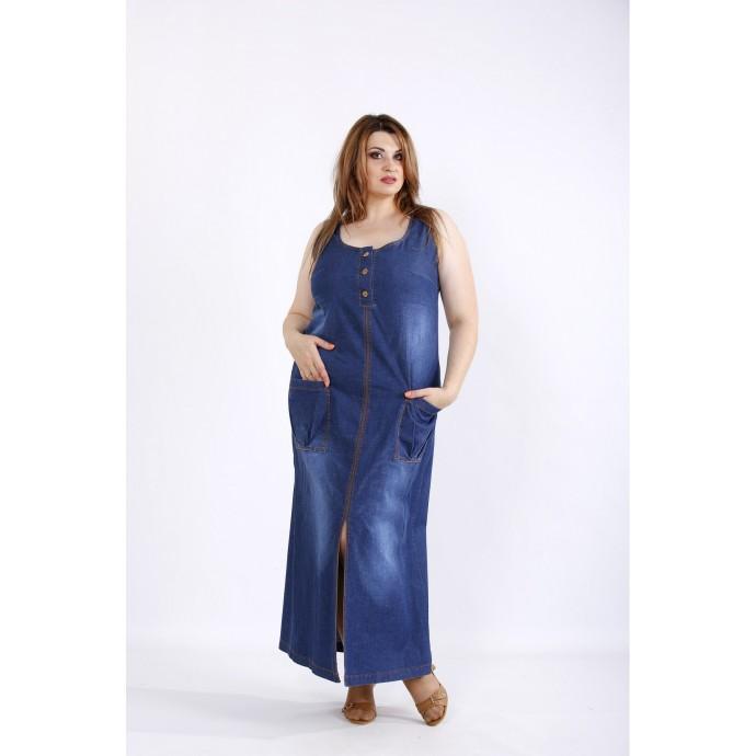 Длинное синее джинсовое платье ККК55546-01211-1