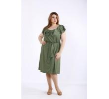 Платье хаки в горошек ККК5557-01225-3