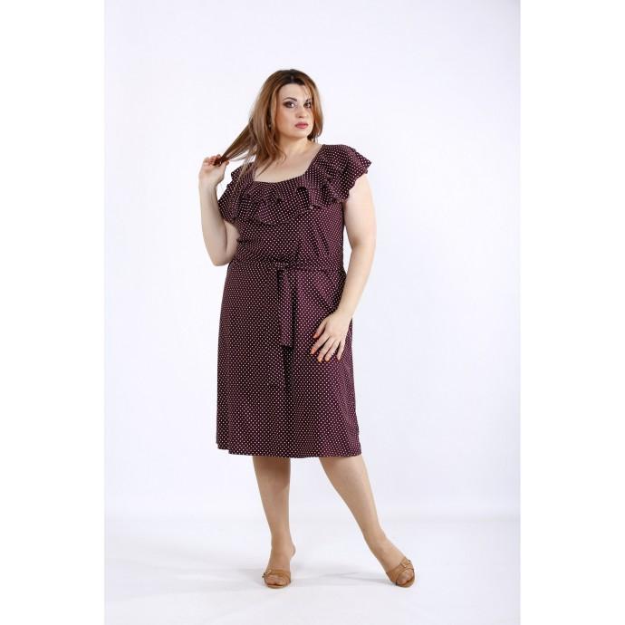 Бордовое платье в горошек ККК5558-01225-2