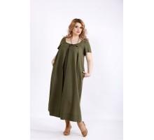 Платье хаки ниже колена из льна ККК2222-01136-2