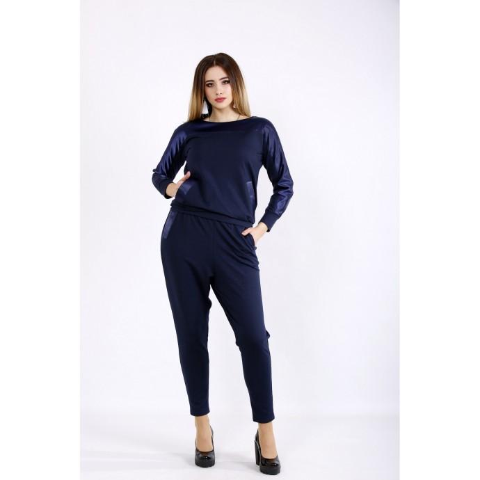 Синий костюм из двухнитки с атласом ККК22216-01132-1