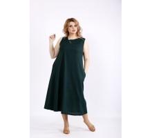 Темно-зеленый легкий сарафан из льна ККК22217-01131-3