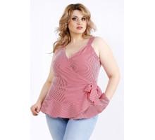 Легкая блузка в красную полоску ККК22223-01129-3