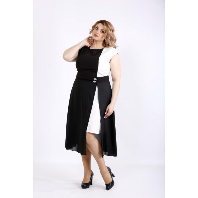 Черно-белое асимметричное платье ККК22228-01127-1