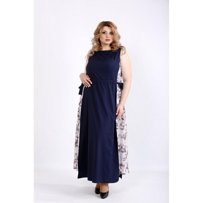 Синее легкое длинное платье ККК22232-01125-3