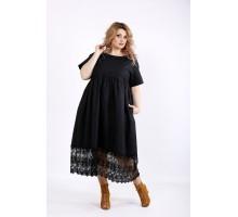 Черное свободное платье из льна с макраме ККК22241-01122-3