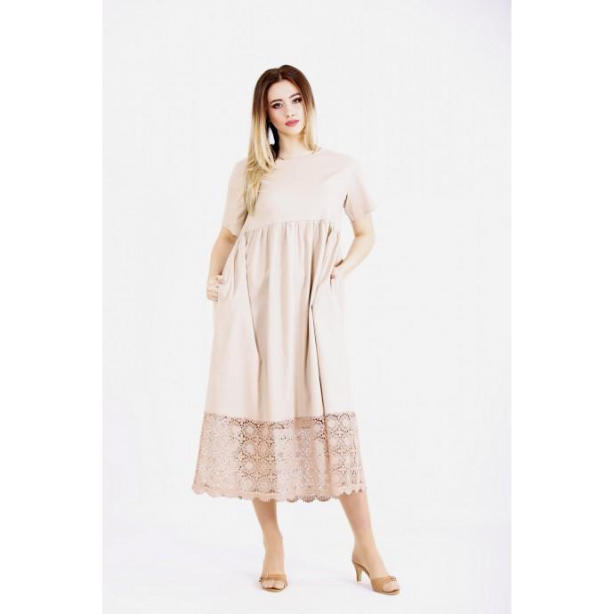 Бежевое длинное платье с макраме ККК22243-01122-1