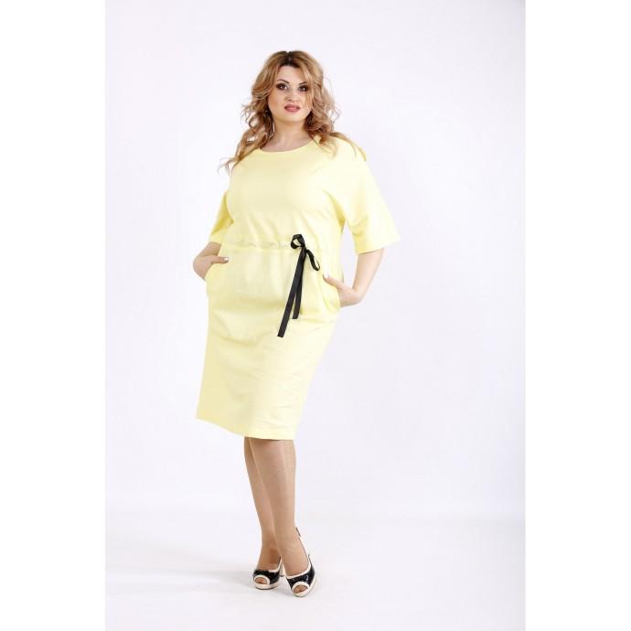 Желтое светлое платье из льна ККК22247-01120-3