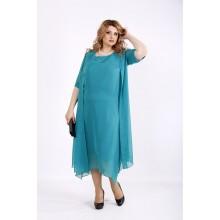 Бирюзовый комплект платье и накидка ККК22250-01119-3