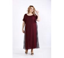 Легкое длинное платье баклажан ККК22253-01118-3