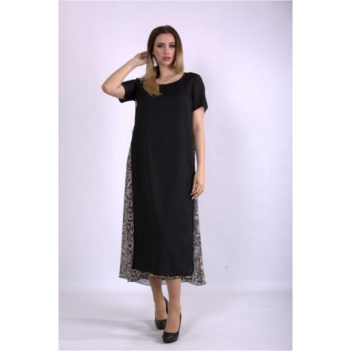 Черное длинное платье из шифона ККК22255-01118-1