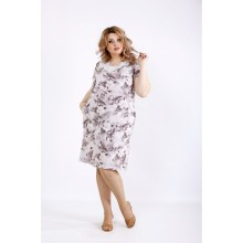 Платье с цветами и оттенком мокко ККК22257-01117-2
