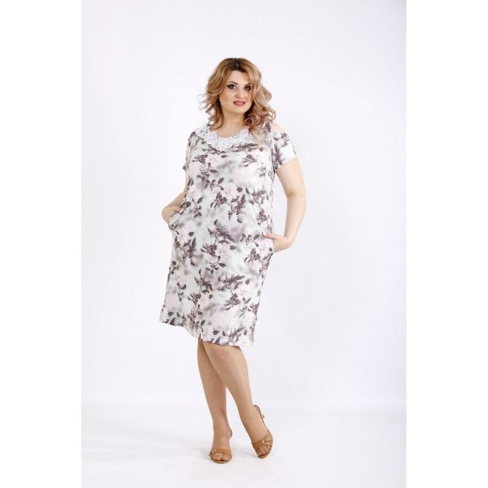 Платье выше колена с кружевом ККК22258-01117-1