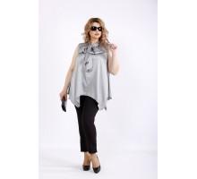 Свободная блузка стального цвета без рукавов ККК22261-01116-1