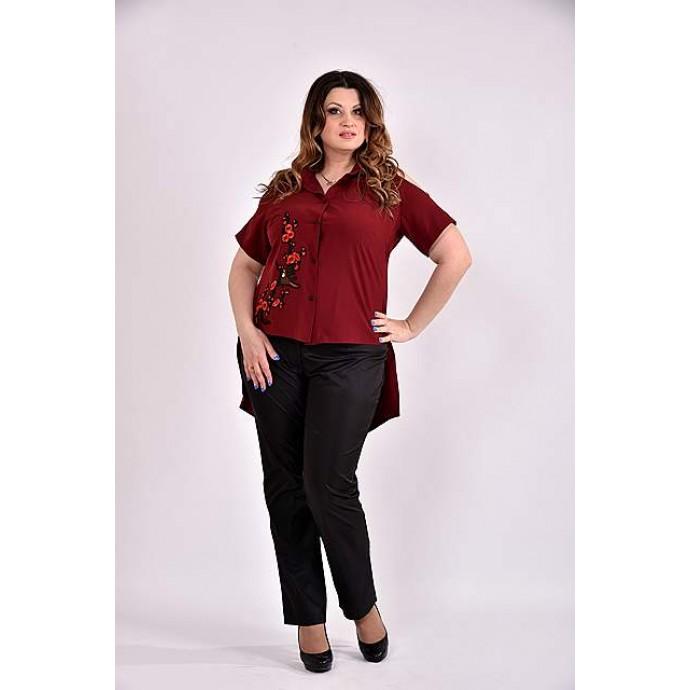 Бордовая блузка с апликацией 42-74 размер ККК349-0480-2