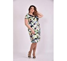 Платье зеленый принт 42-74 размер ККК37-0495-2
