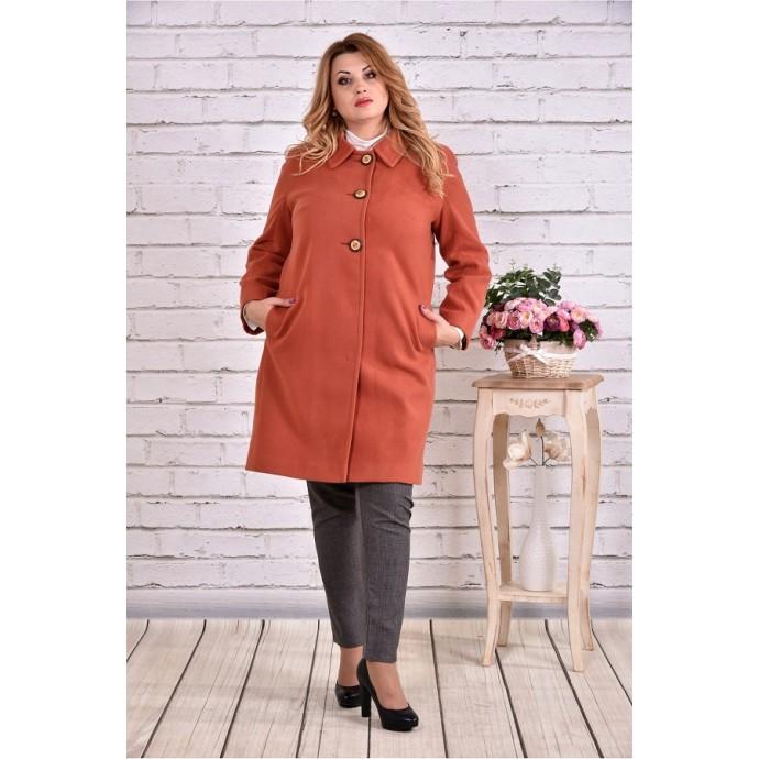 Терракотовое пальто классика ККК9921-t0614-1