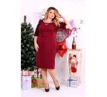 Красное трикотажное платье ККК1119-0661-2